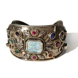 Vintage Jewelry - Antique Deco Opal Sterling Silver 3 Panel Bracelet